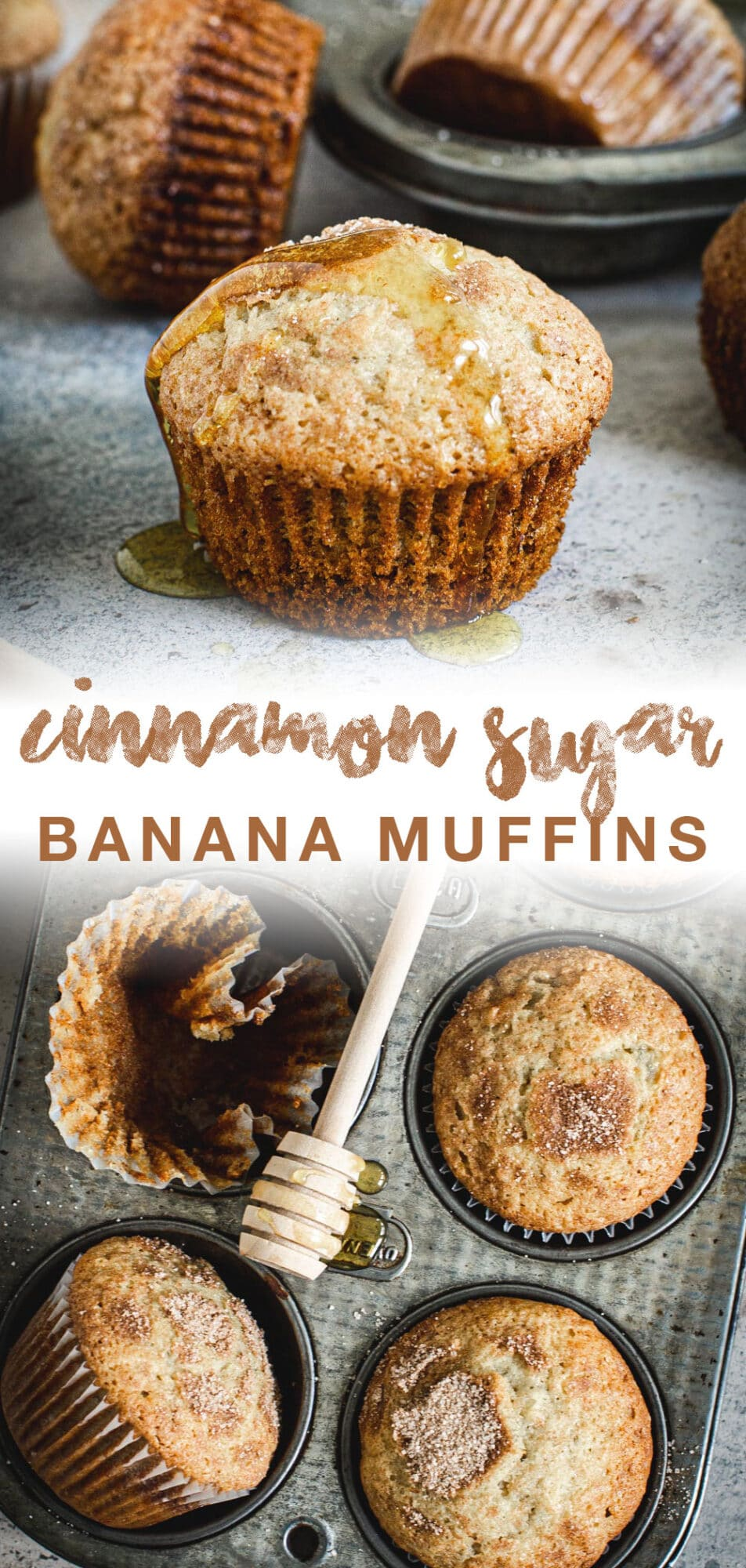 Banana muffins pin with brown title.