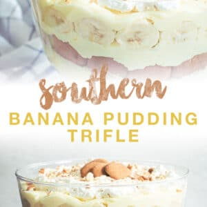 banana pudding double image with brown and yellow title