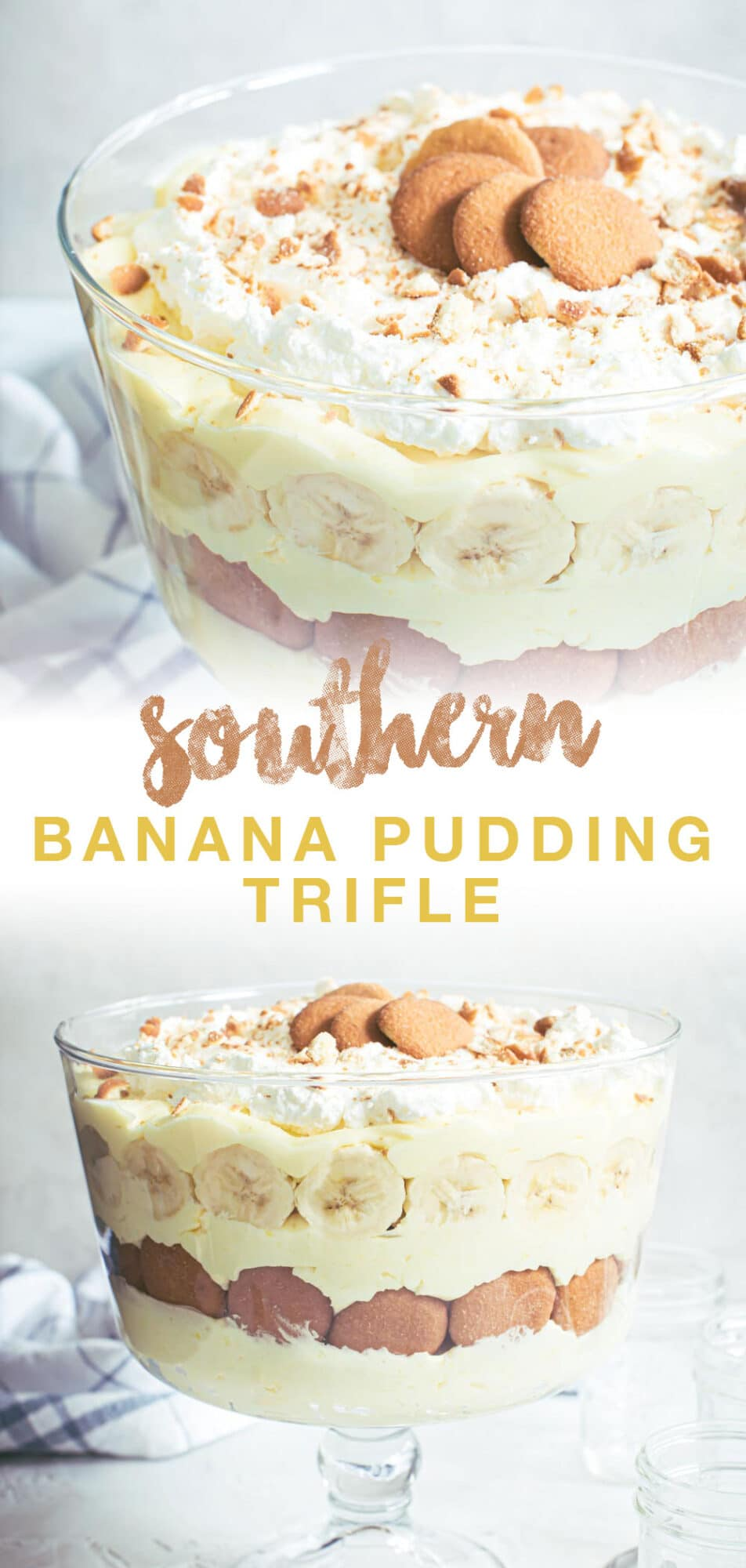 Banana pudding double image with brown and yellow title.