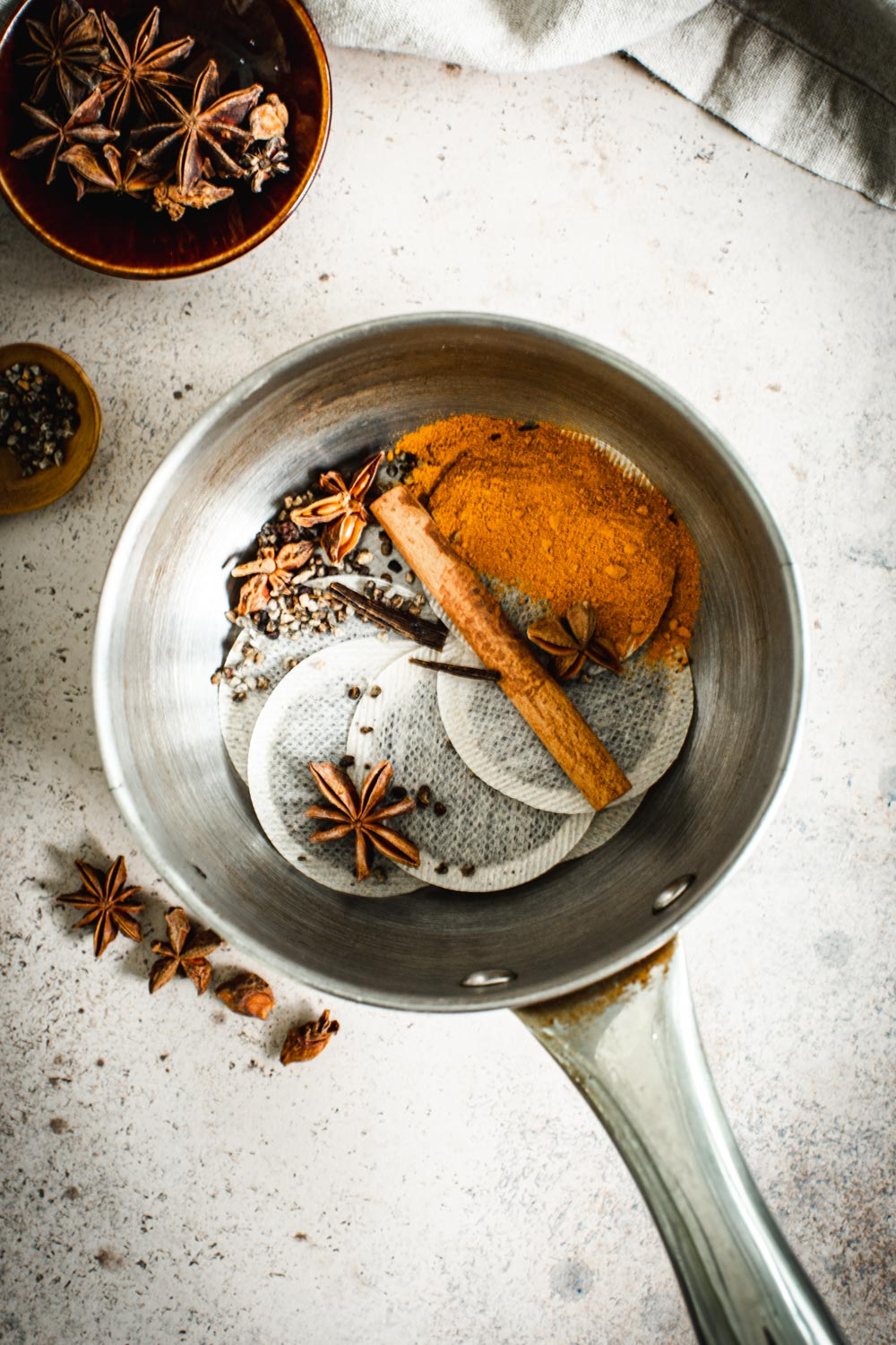 Ingredients for Thai tea in a small saucepan.