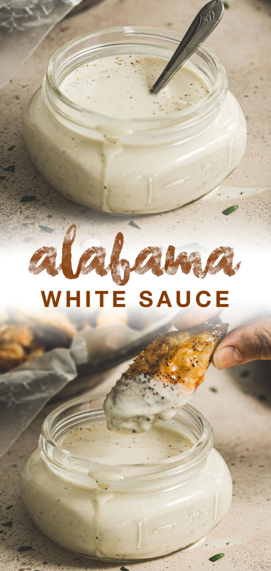 white sauce recipe with brown title