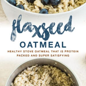 flaxseed oatmeal double image with blue title