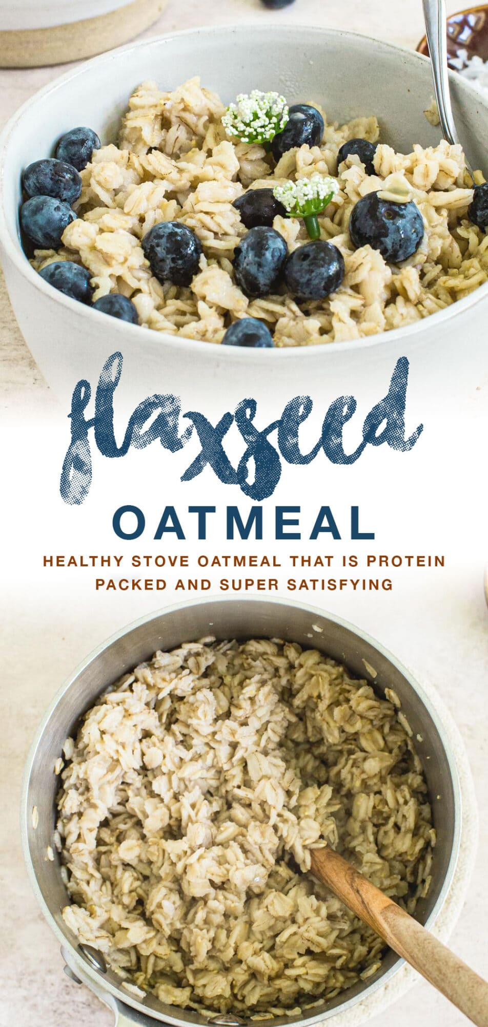 Flaxseed oatmeal double image with blue title.