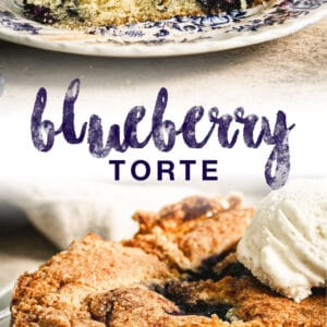 double image of blueberry torte slices with blue title