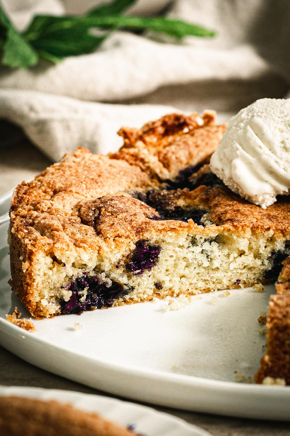 close up of warm blueberry torte with slice cut out