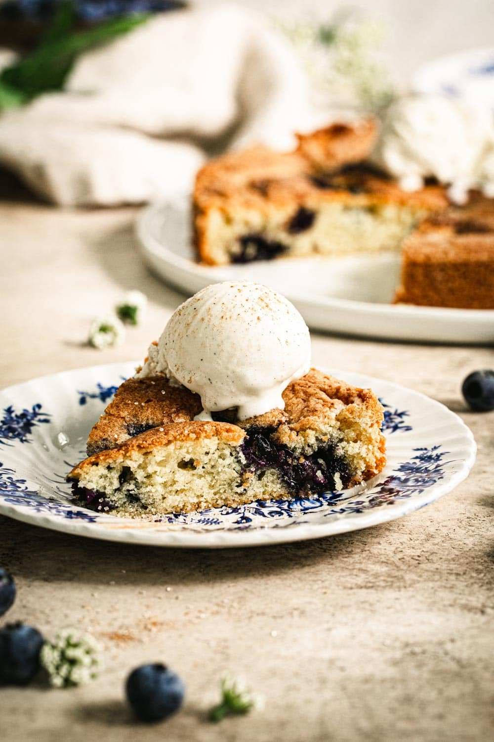 best blueberry torte slice with ice cream on top and on a blue and white plate