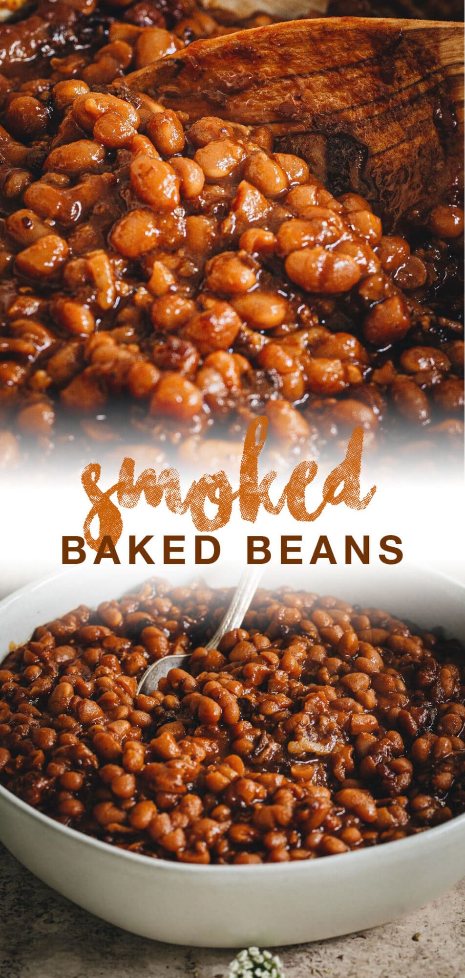 double image of baked beans with orange title
