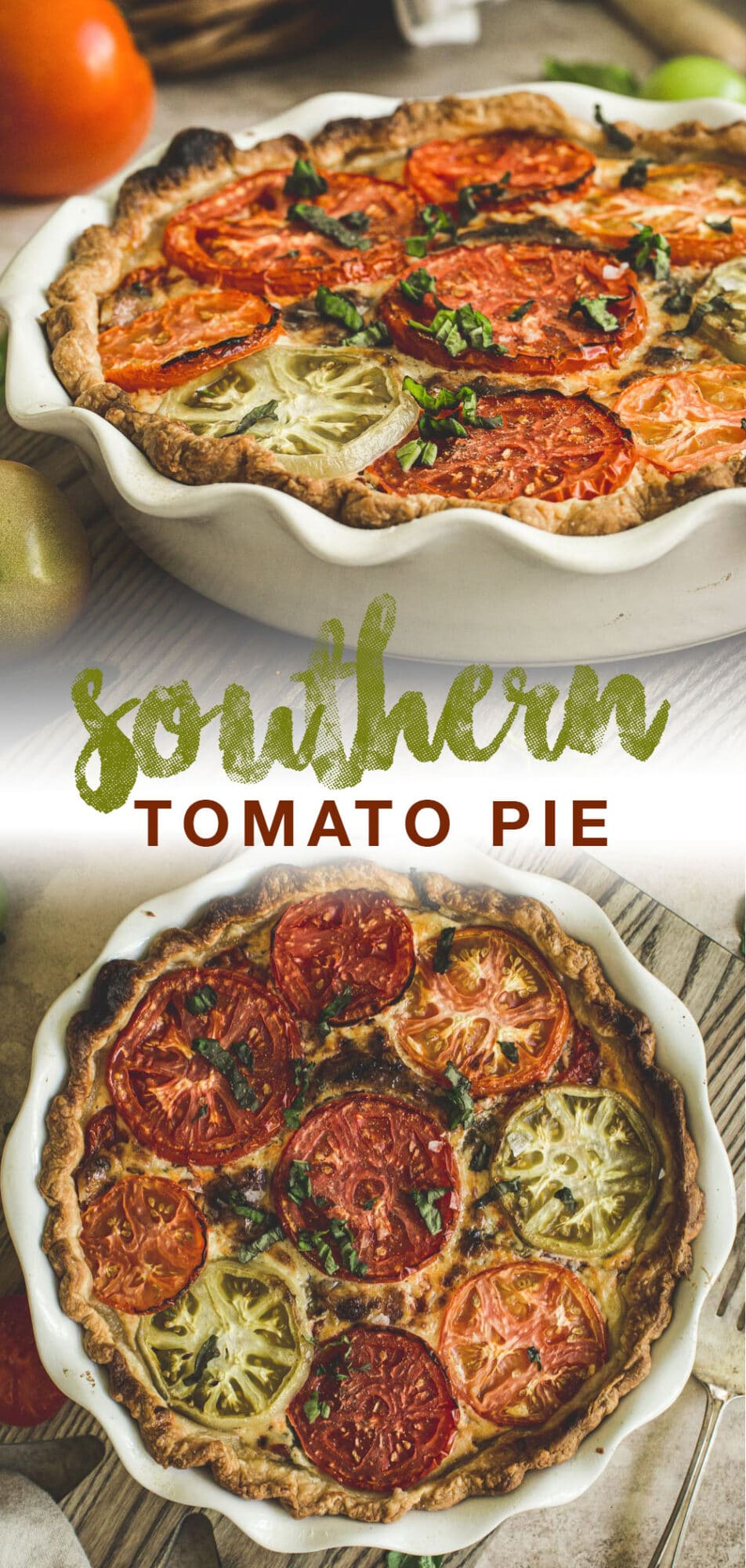 double image of tomato pie with green and red title