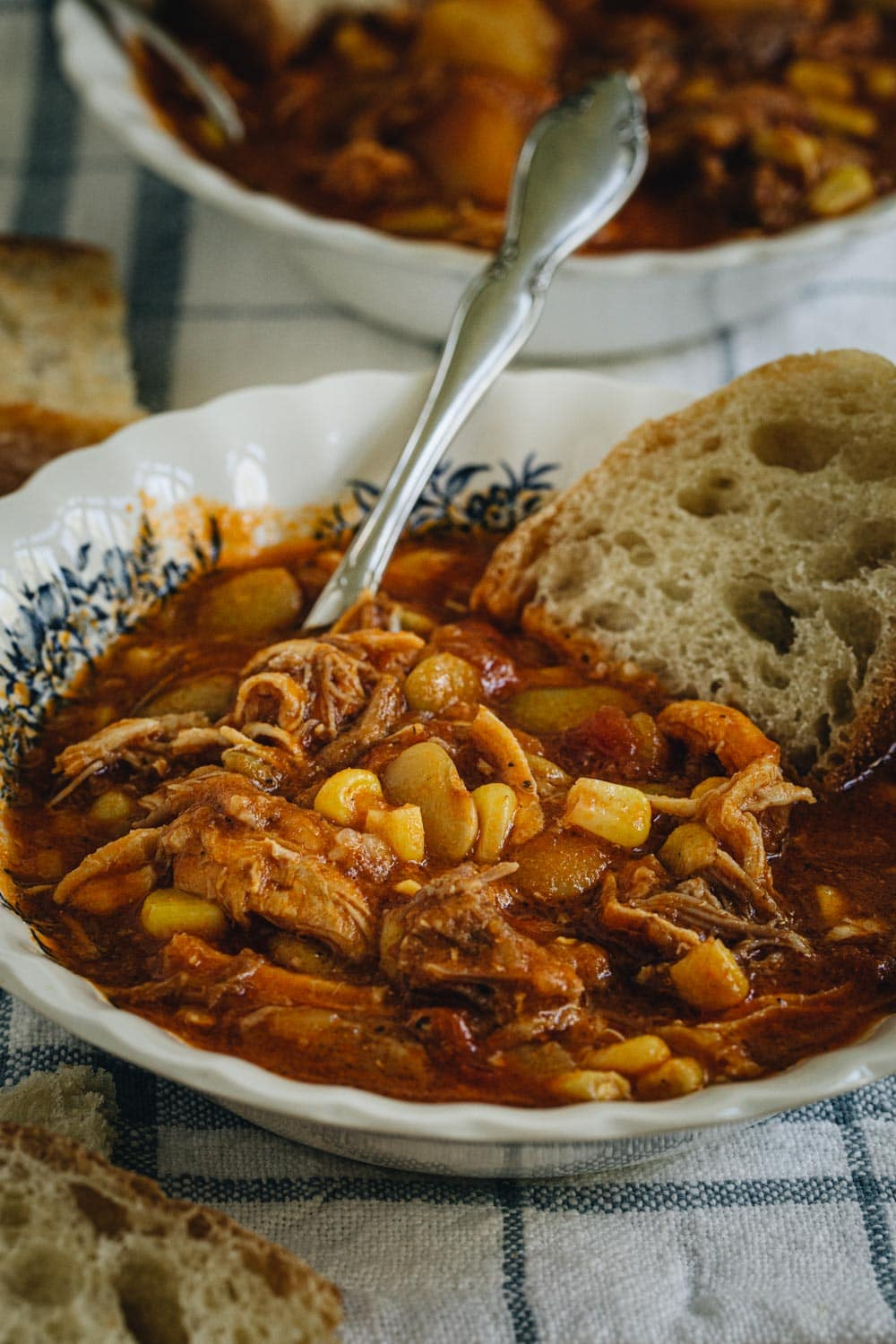Side view of Brunswick stew in a white bowl with blue flowers and slice of bread.