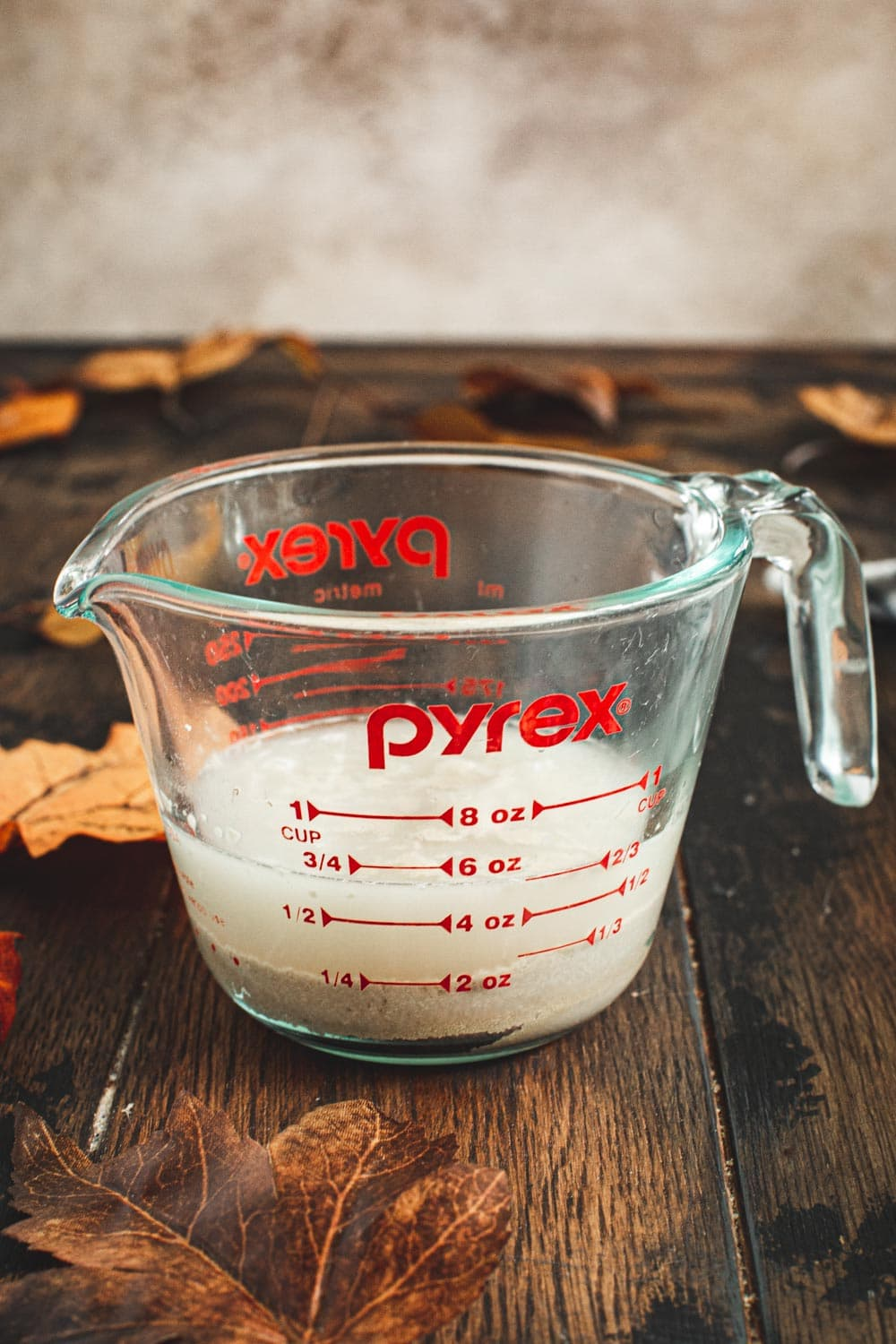 Warm water with active dry yeast in a measuring cup.