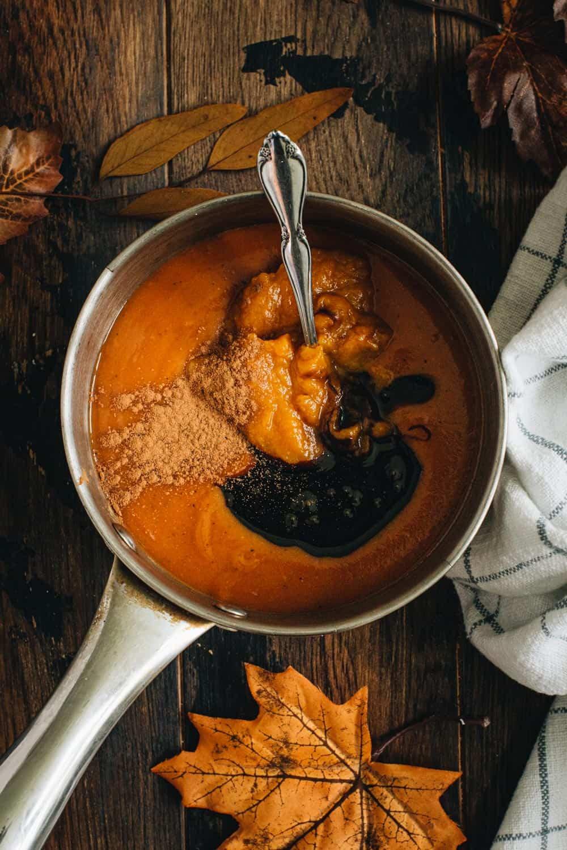Pumpkin bbq sauce in a saucepan.