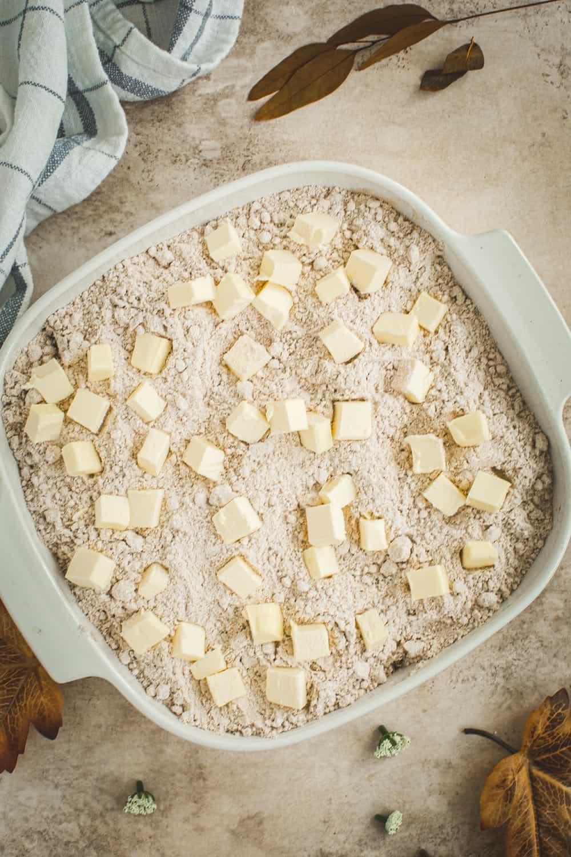 Butter layer for caramel apple dump cake.