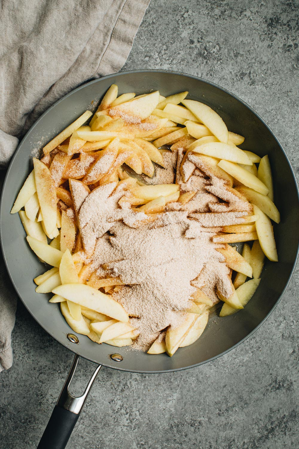 Apple mixture in a skillet.