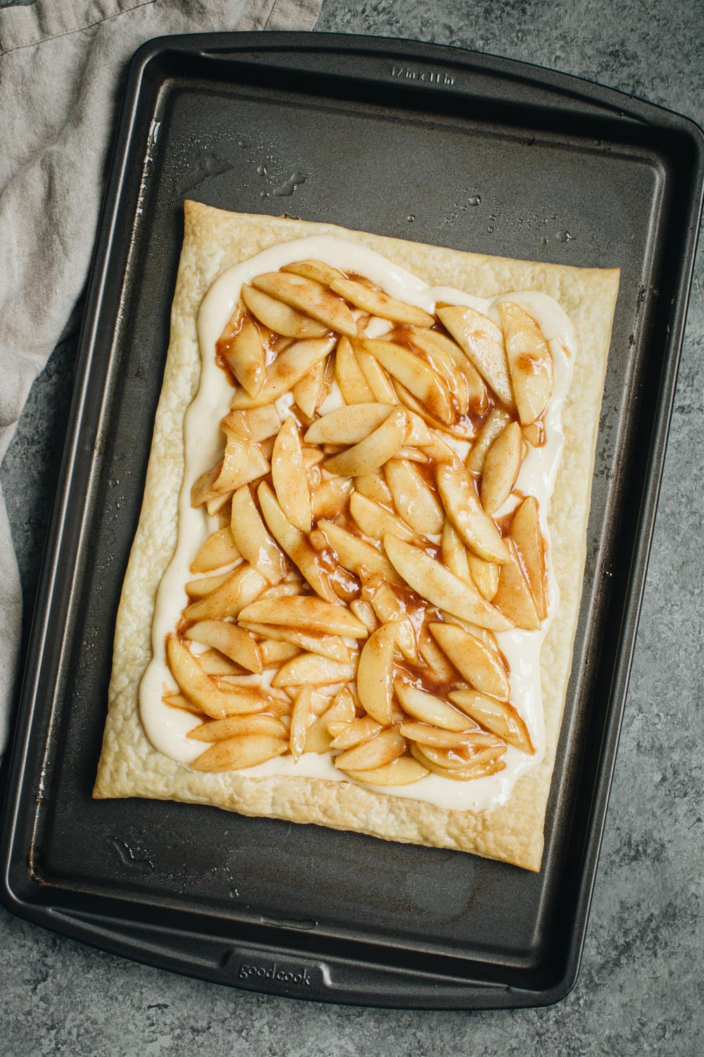 Apple mixture layer on top of pastry for danishes.