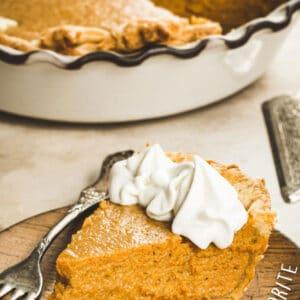 Pumpkin pie slice next to pie dish with white title.
