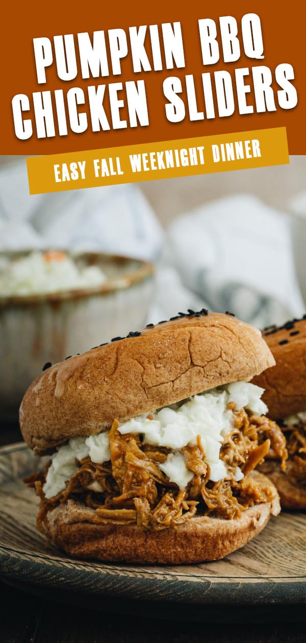 Pumpkin bbq chicken sliders on a wooden plate with title in white and orange block lettering for Pinterest.