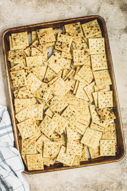Alabama fire crackers on a rimmed baking sheet.
