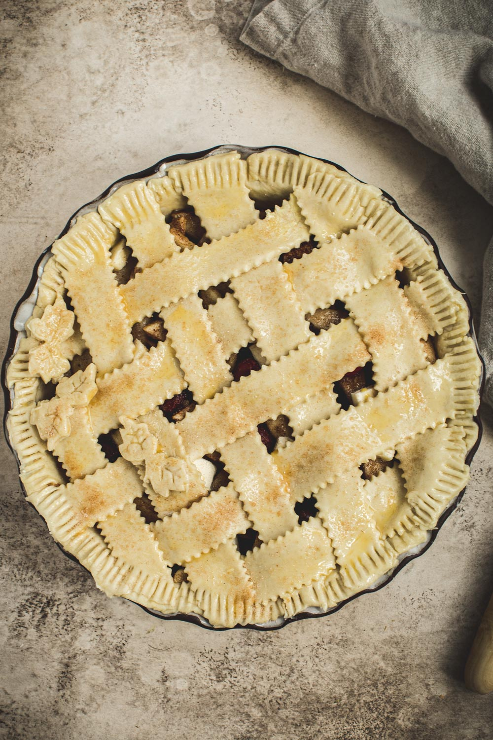Unbaked pie with a lattice.