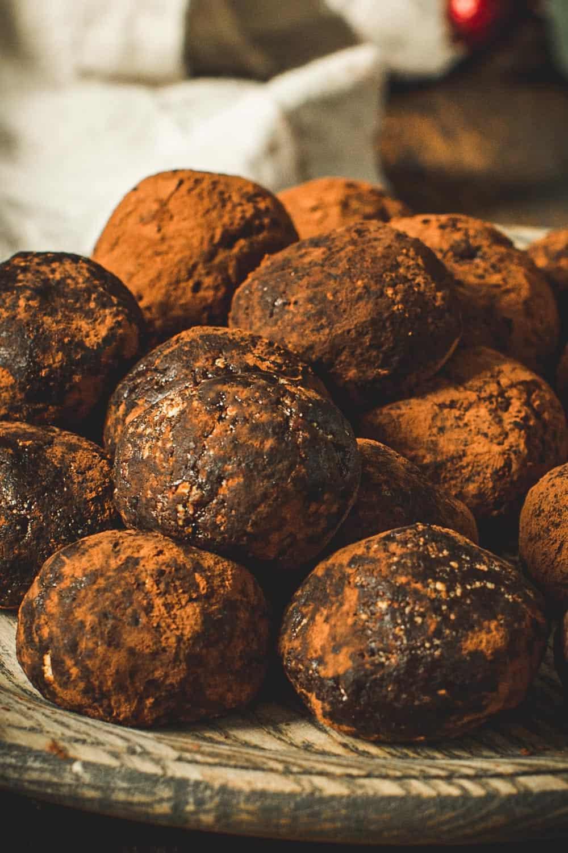 Close up of chocolate rum balls.