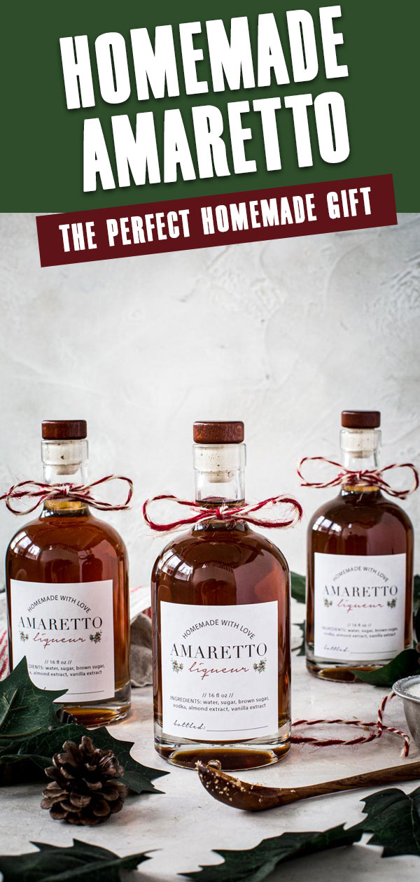 Amaretto in bottles tied with red and white sting and title at top.