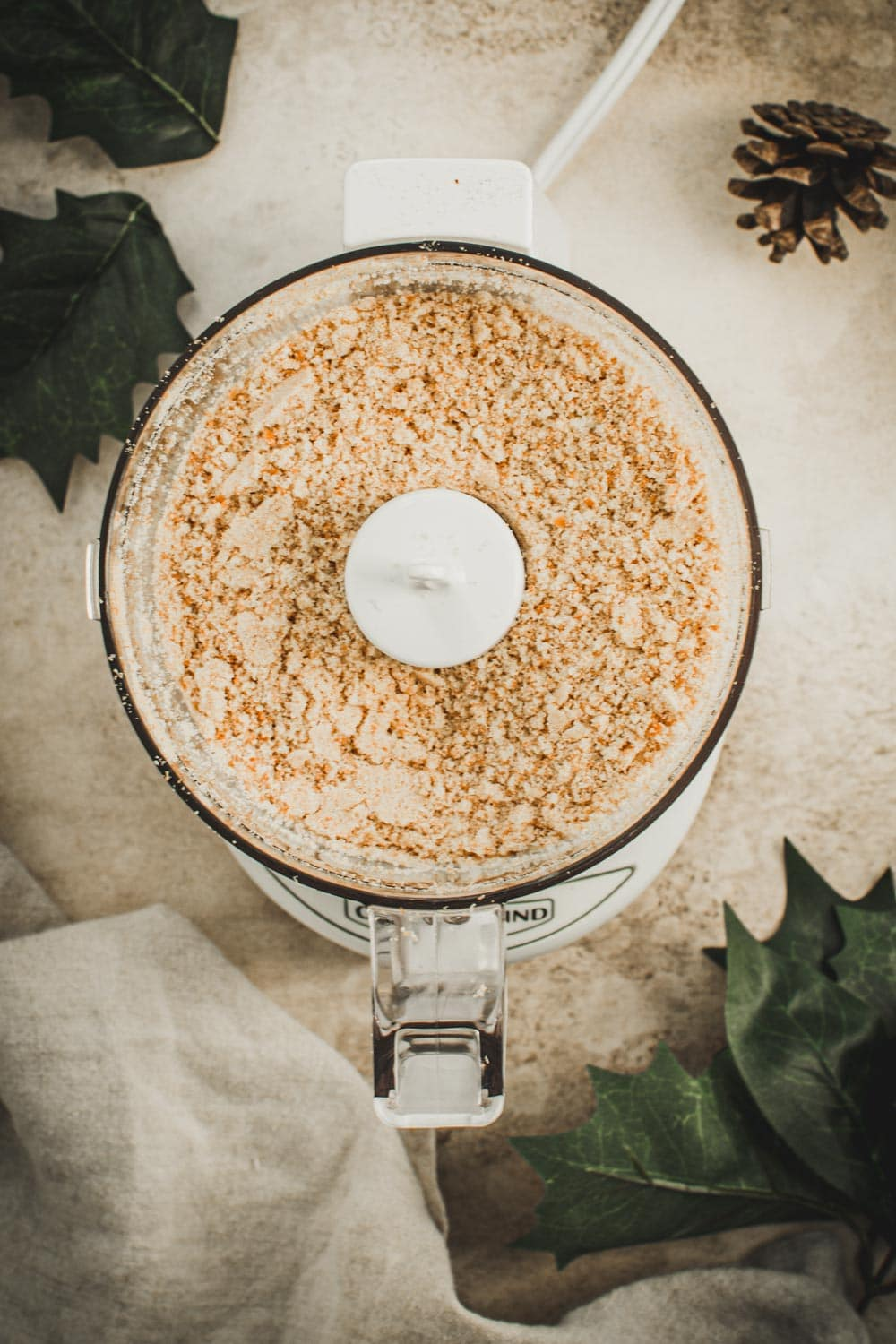 Ground Nilla wafers in a food processor.