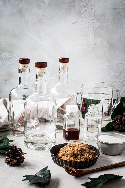 Bottles and utensils for homemade amaretto.