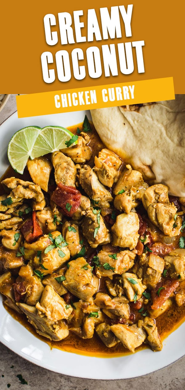 Chicken curry close up with lime wedges and title for Pinterest.