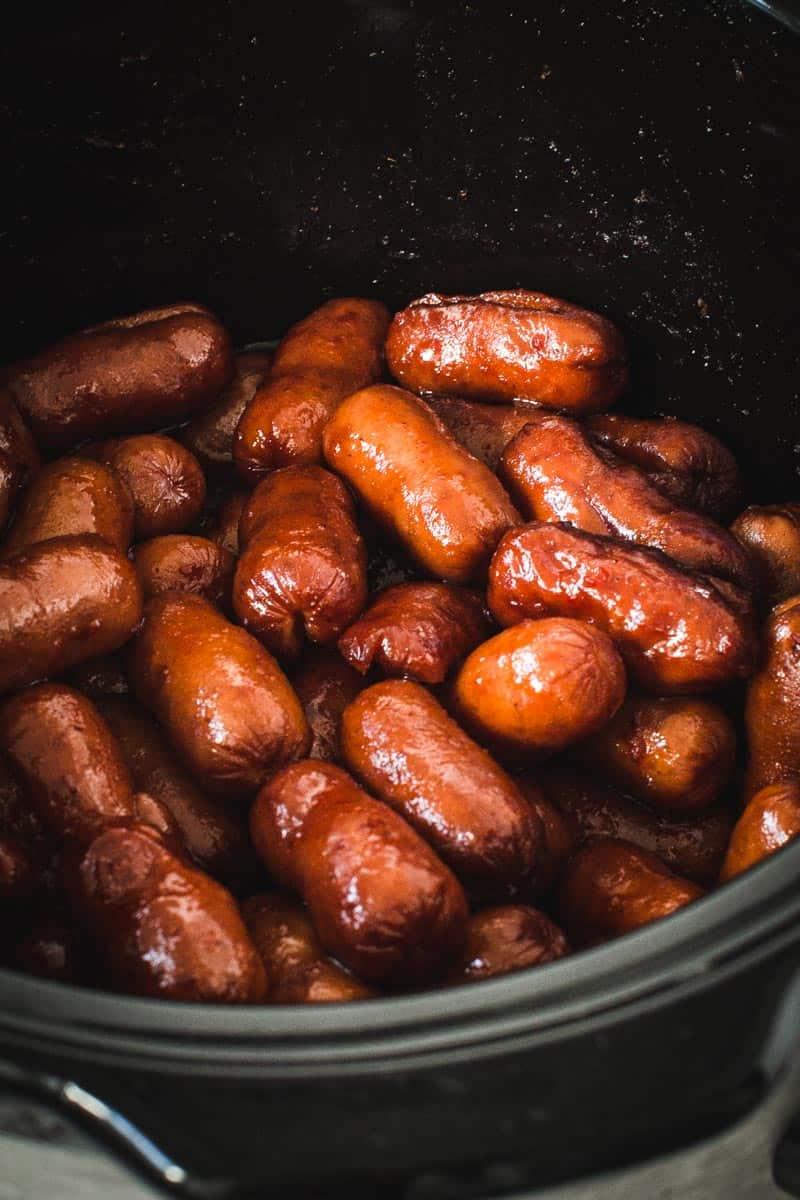 Honey sriracha little smokies in the crockpot.