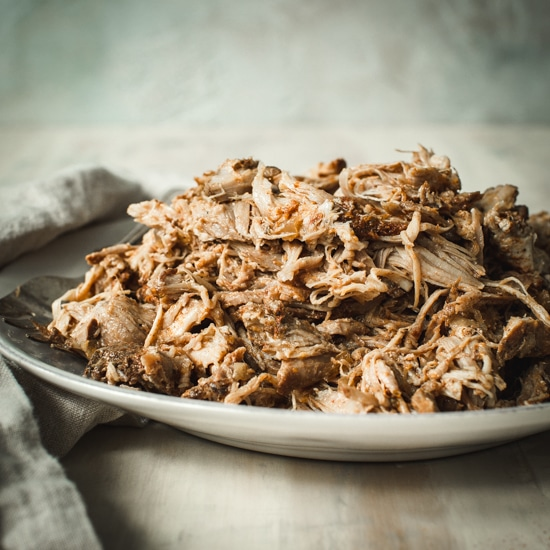 Pulled pork sitting on a white bowl.