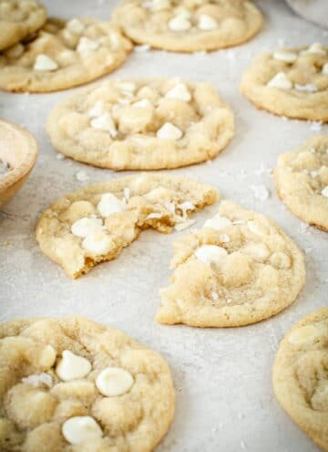 White chocolate chip cookie torn apart.