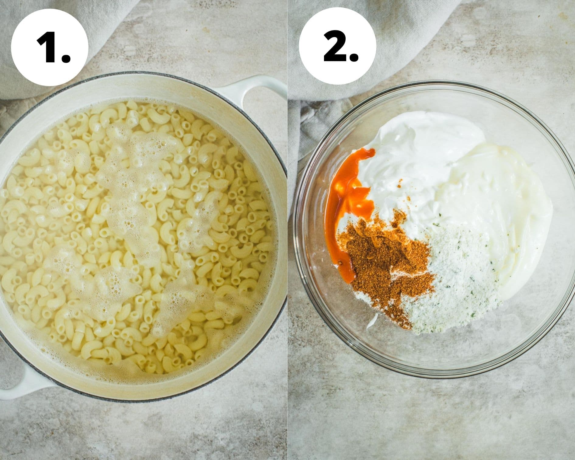 Process steps 1 and 2 for making bacon ranch pasta salad.