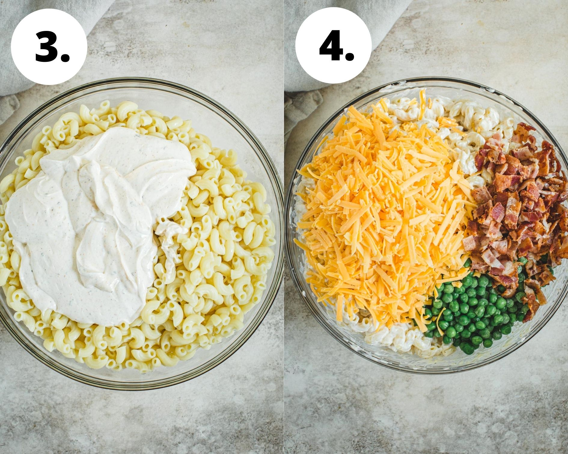 Process steps 3 and 4 for making bacon ranch pasta salad.