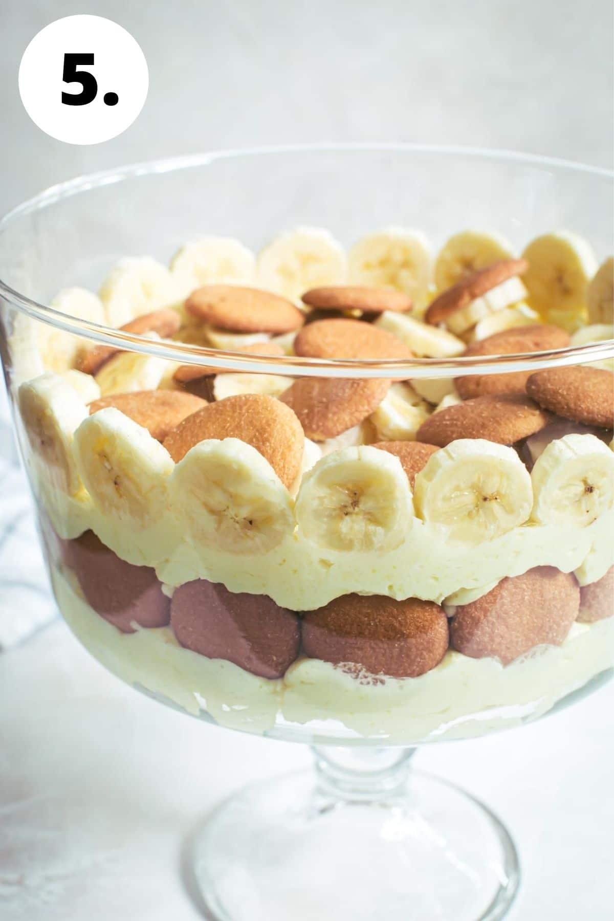 Banana pudding process step 5.