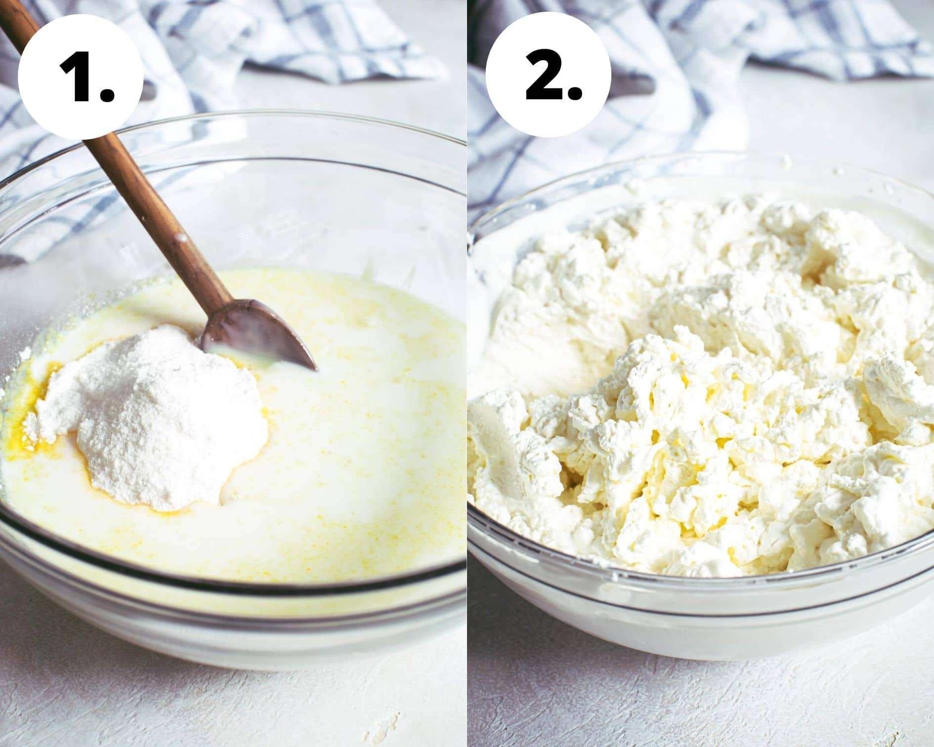 Banana pudding trifle process steps 1 and 2.