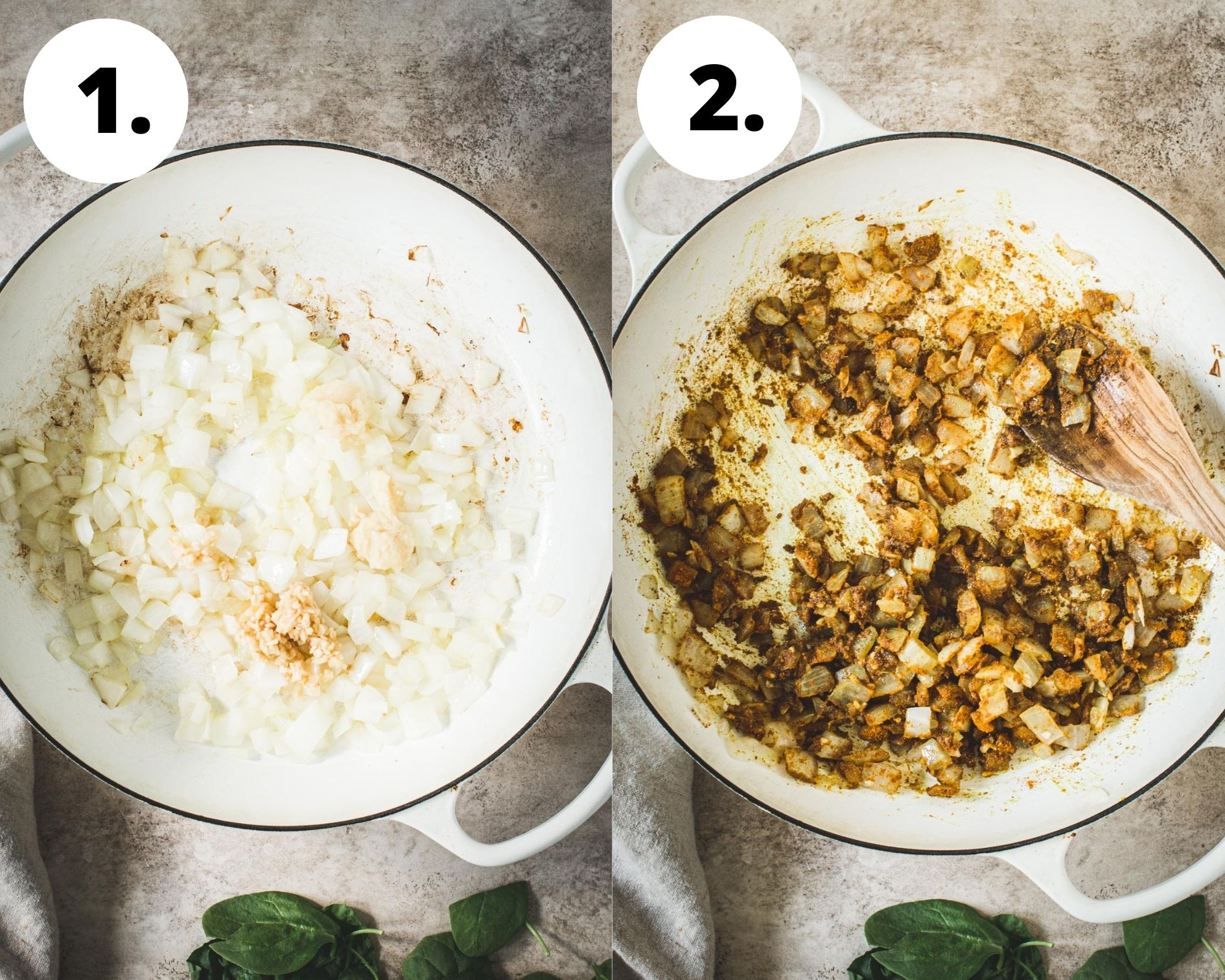 Chickpea spinach curry process steps 1 and 2.