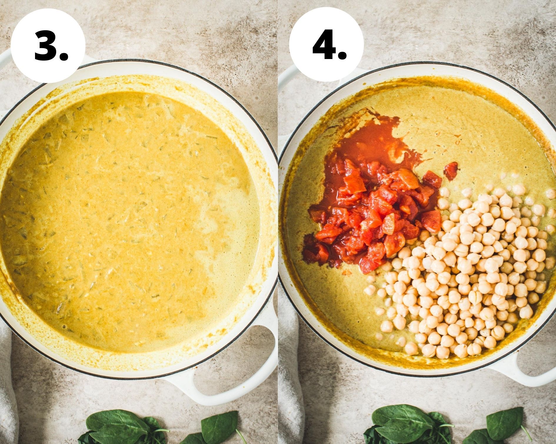 Chickpea spinach curry process steps 3 and 4.