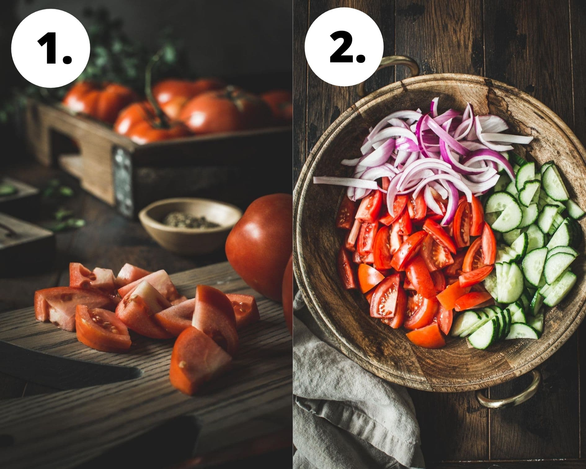 Cucumber, onion, and tomato salad process steps 1 and 2.