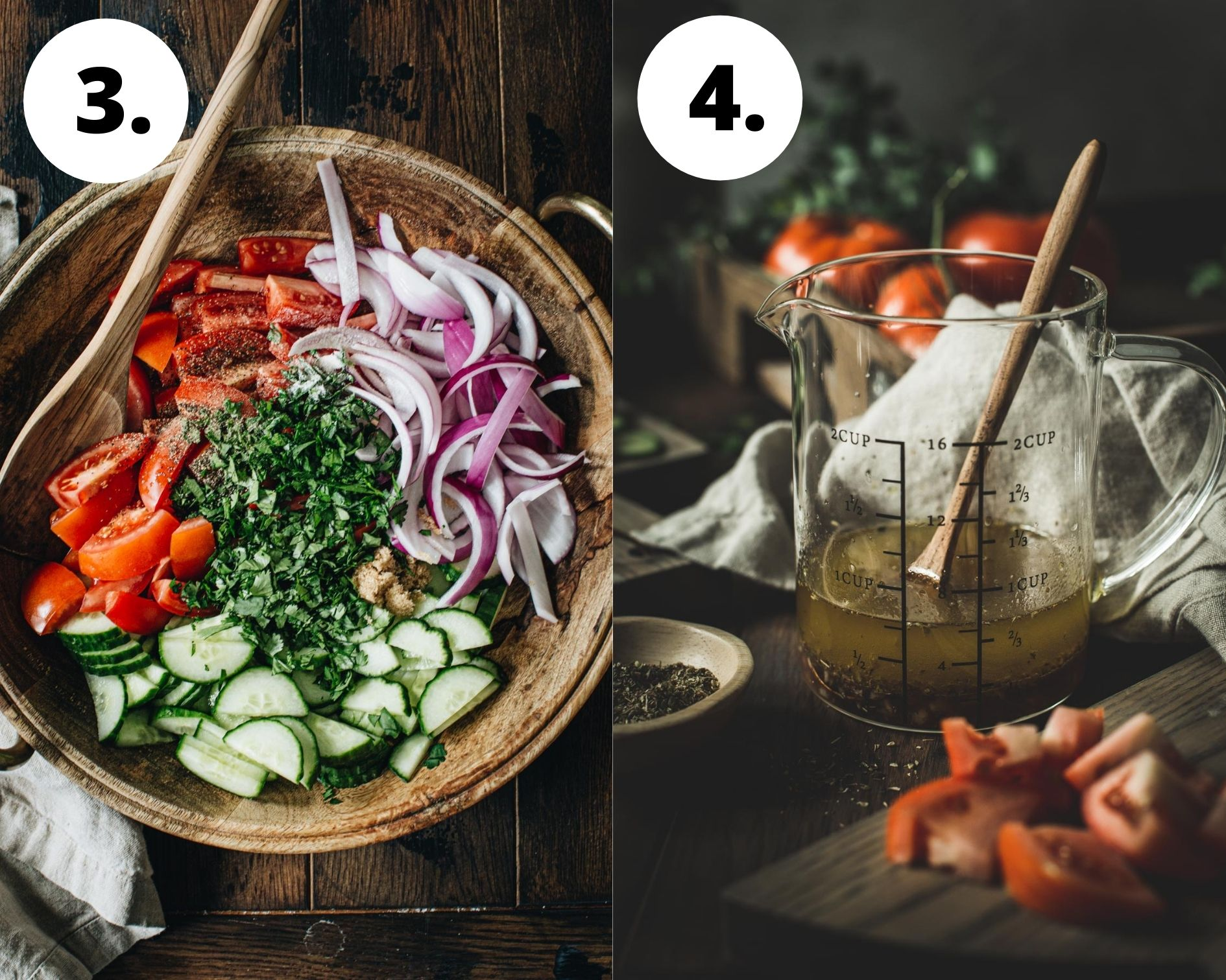 Cucumber, onion, and tomato salad process steps 3 and 4.