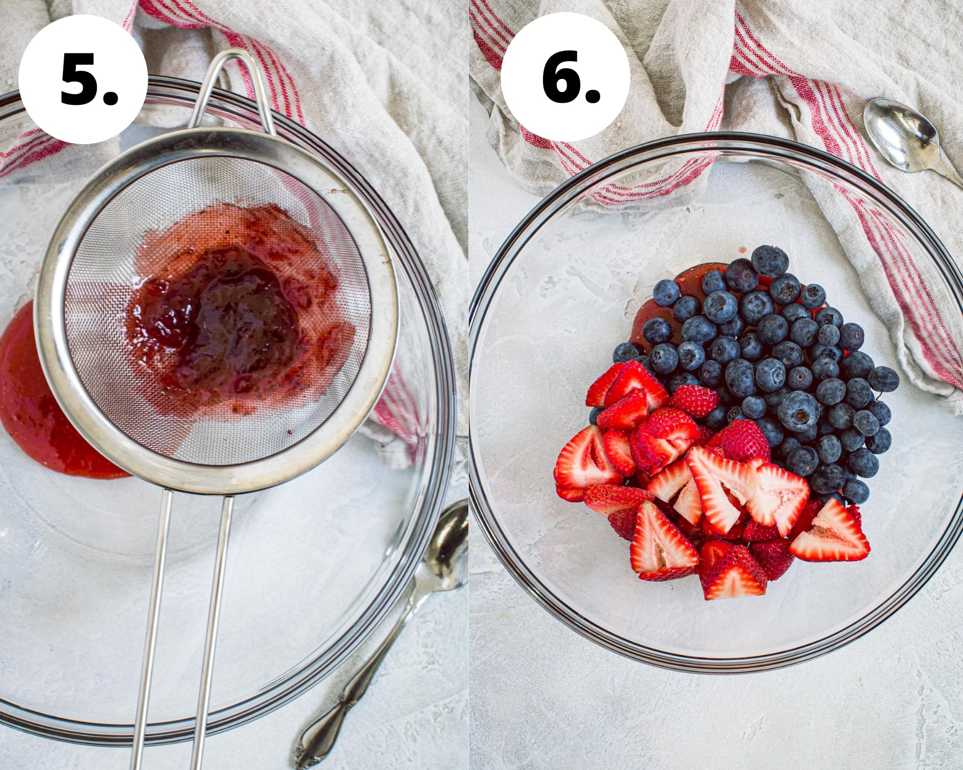 Mixed berry fruit pizza process steps 5 and 6.