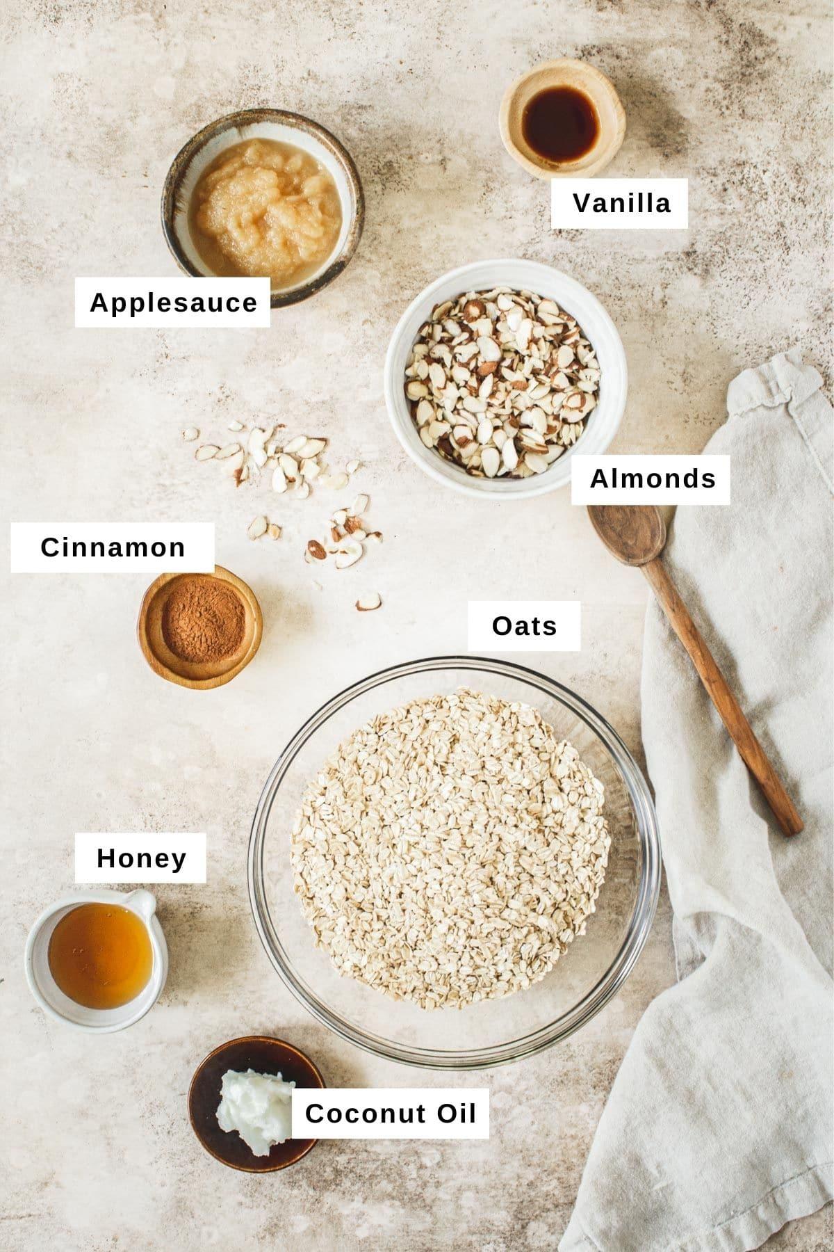 Honey vanilla ingredients in different bowls.