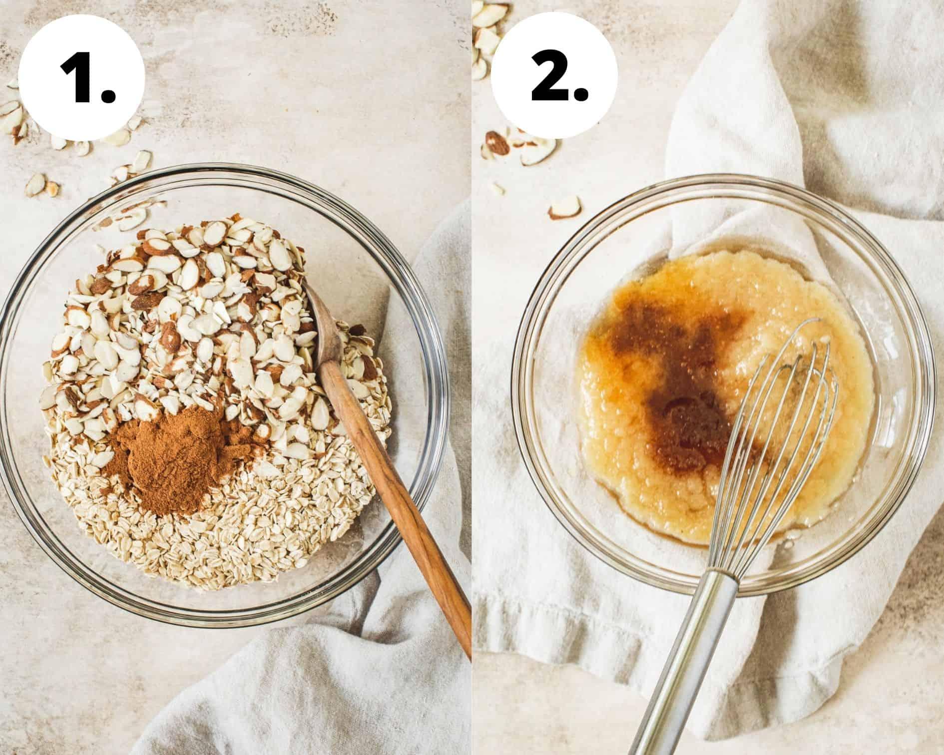 Process steps 1 and 2 for making honey vanilla granola.