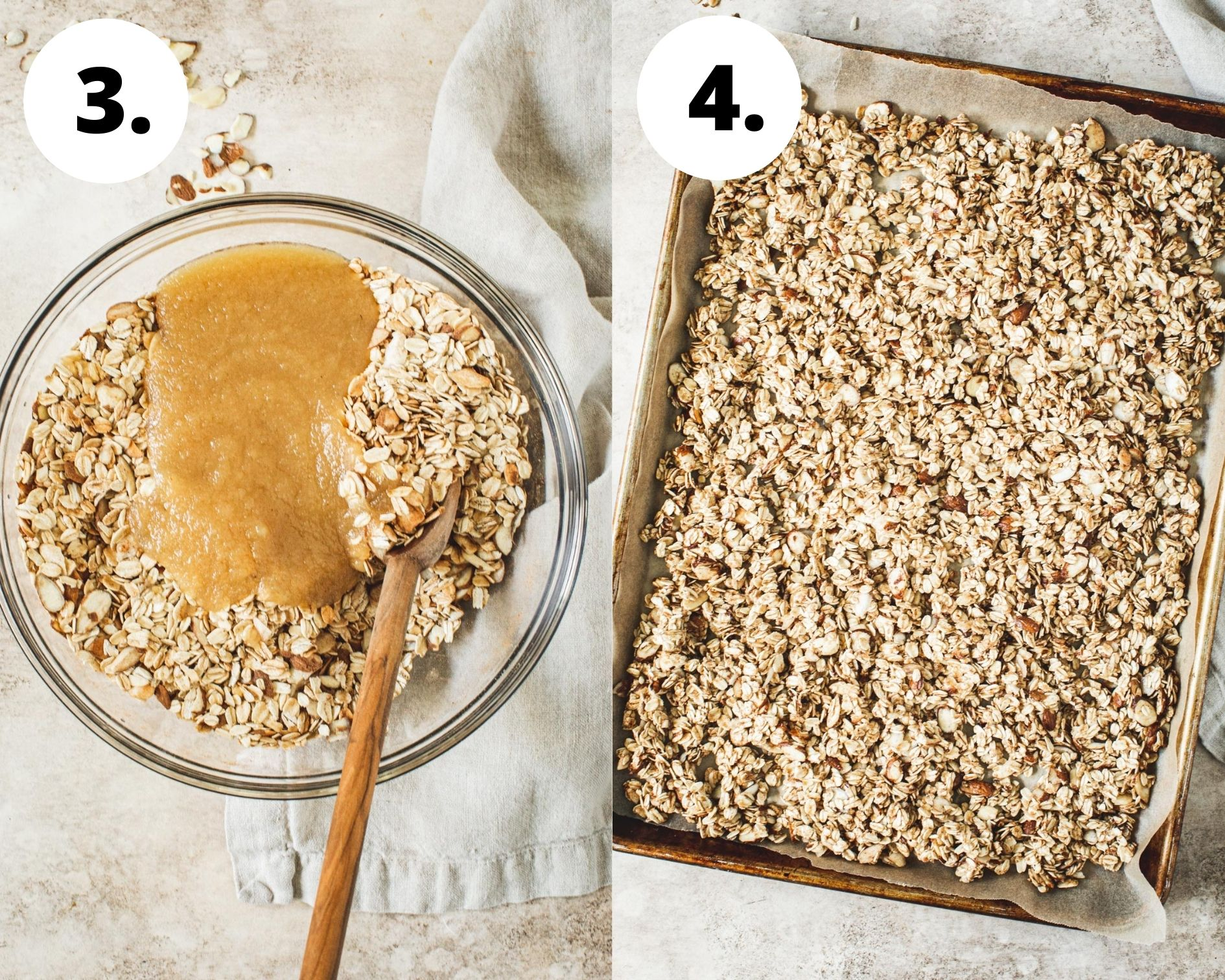Process steps 3 and 4 for making honey granola.
