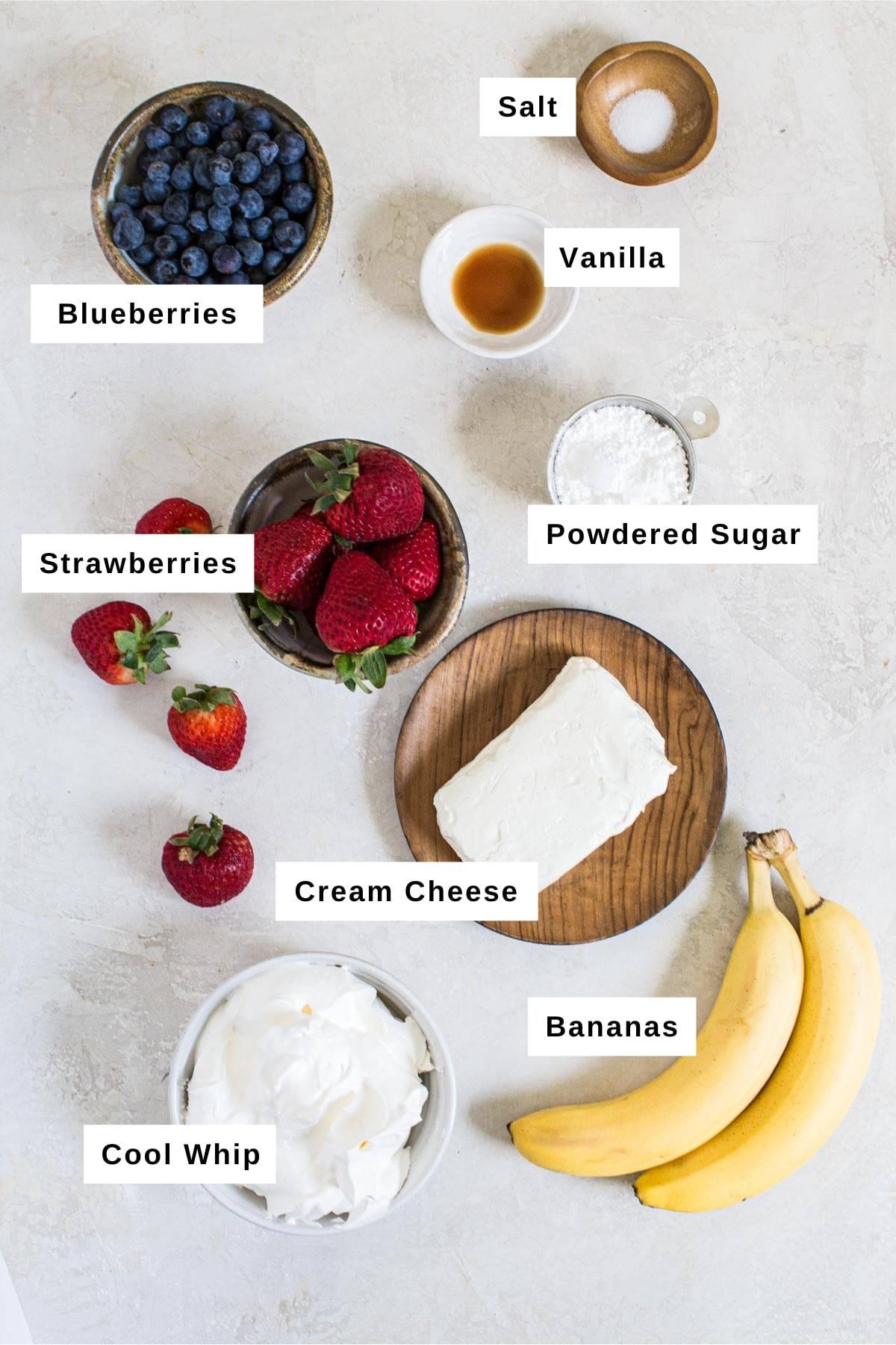 Berry cheesecake salad ingredients.