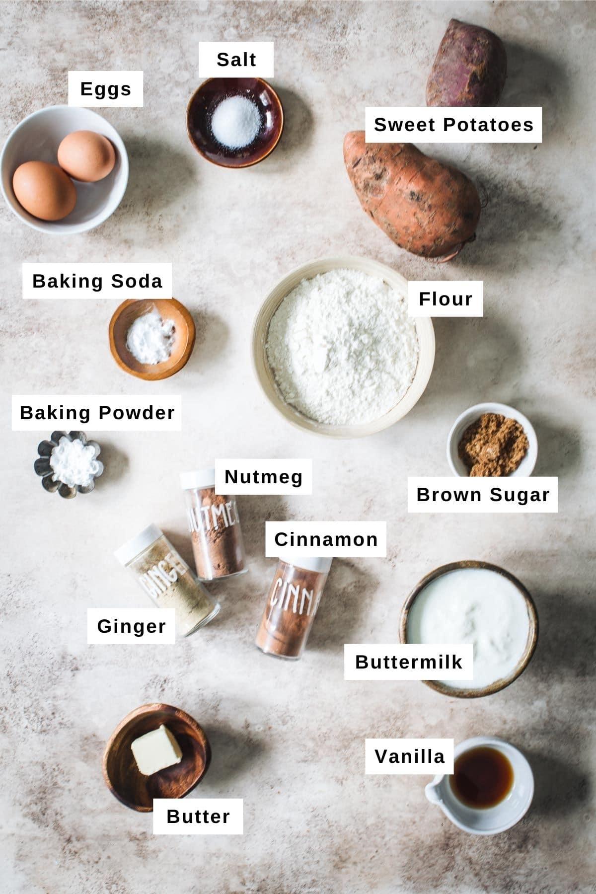 Sweet potato pancake ingredients in bowls.
