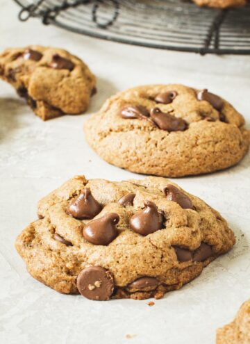 Two whole wheat chocolate chip cookies.