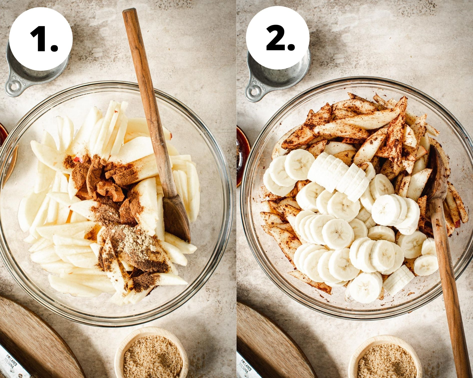 Baked apple crumble process steps 1 and 2.