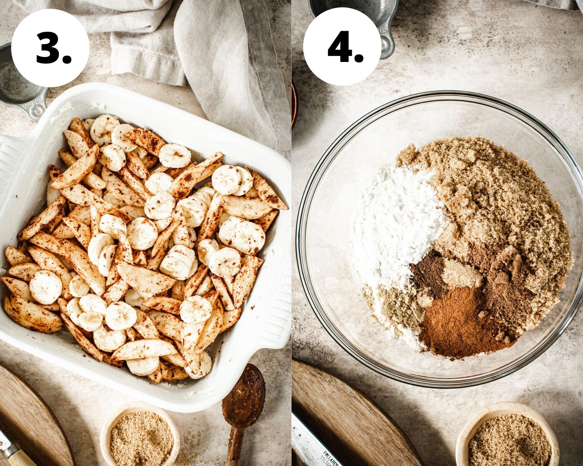 Baked apple crumble process steps 3 and 4.