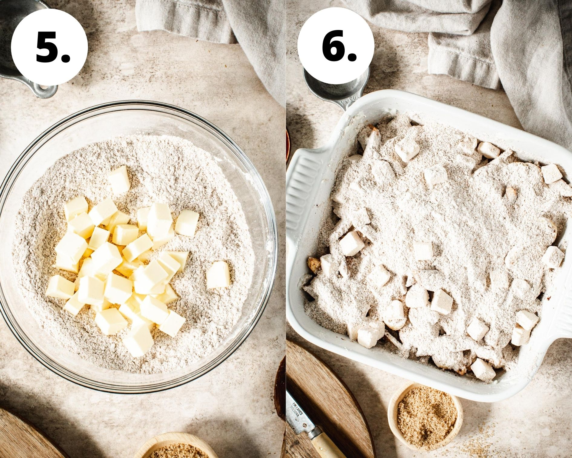 Baked apple crumble process steps 5 and 6.