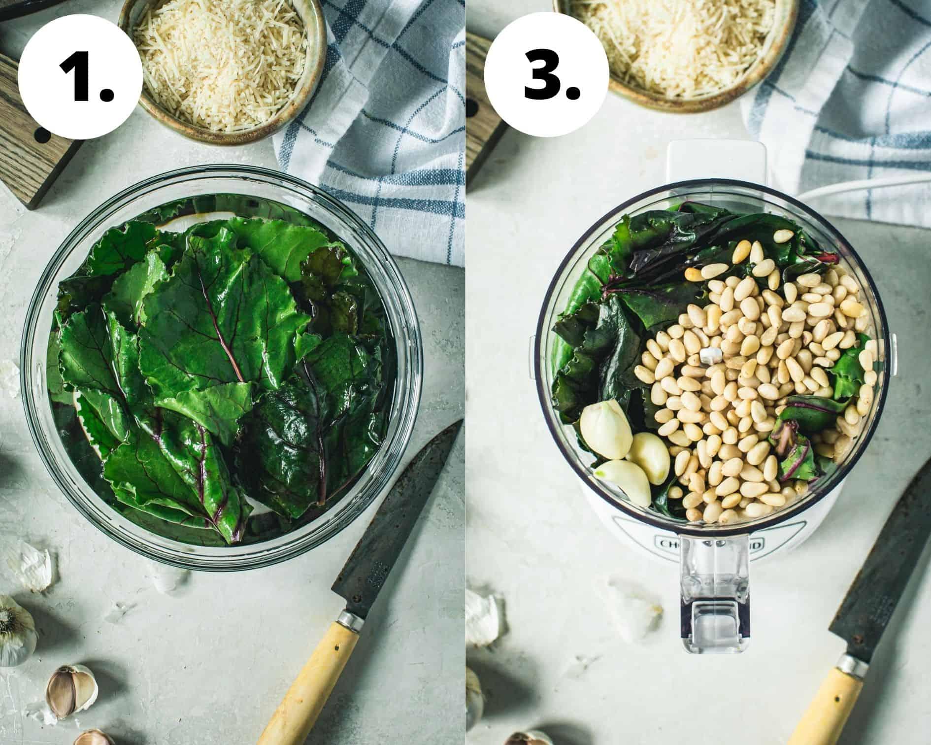 Beet greens pesto process steps 1 and 2.