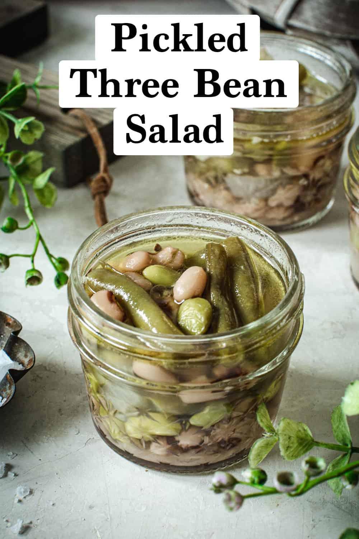 Pickled three bean salad in small jars.